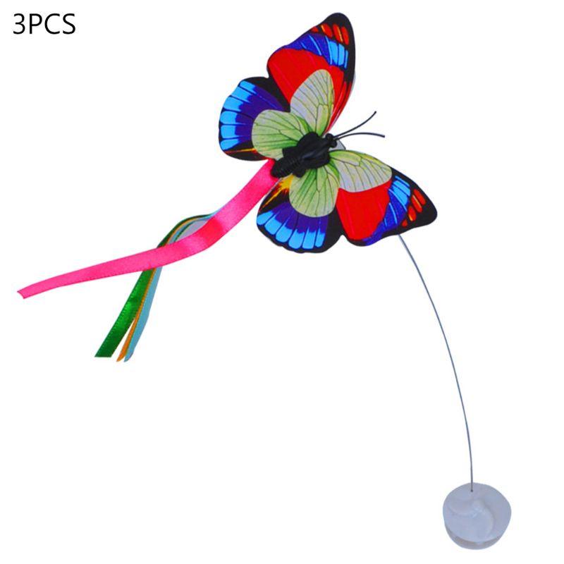3 pièces électrique Flutter rotatif papillon recharges chat Teaser jouet pièce de rechange N58C