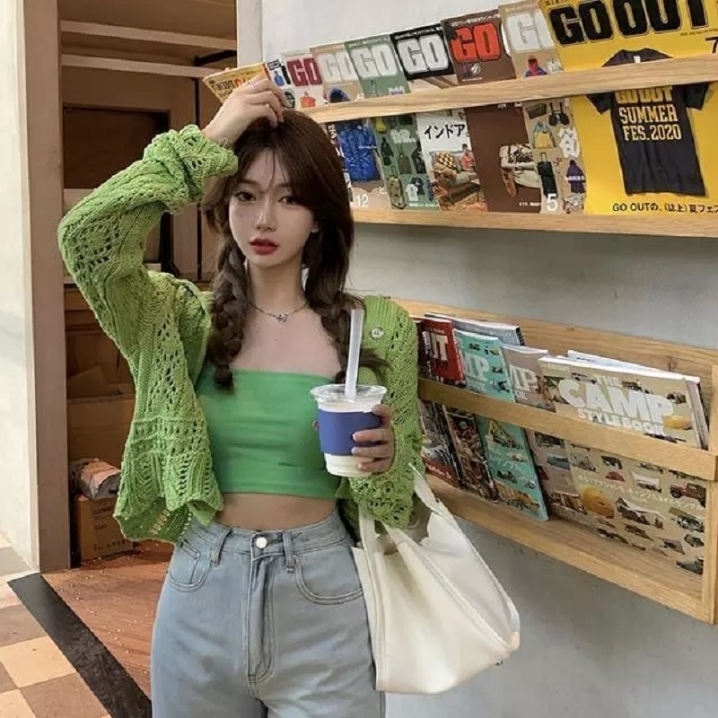 Green Hollow out Knitted Cardigan 2 Piece Set Women Spring Autumn 2021 Cropped Camisole Short Tops Long Sleeve Camis Ribbed Suit