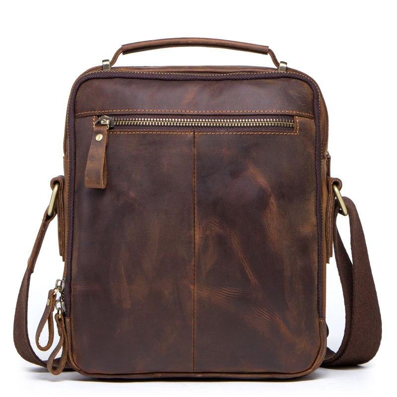 Bolsa de ombro Saco Pequeno Saco Do Mensageiro dos homens Pequeno Saco Quadrado 2019 Boutique dos homens Ocasional de Couro Do Vintage Cavalo Louco bolsa de couro