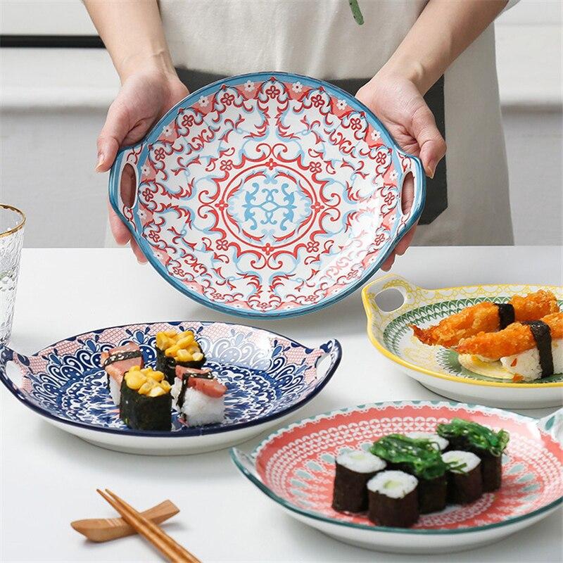 Bandeja de cozimento cerâmica dupla alça placa de queijo casa forno microondas placa especial criativo placa de peixe cozido no vapor