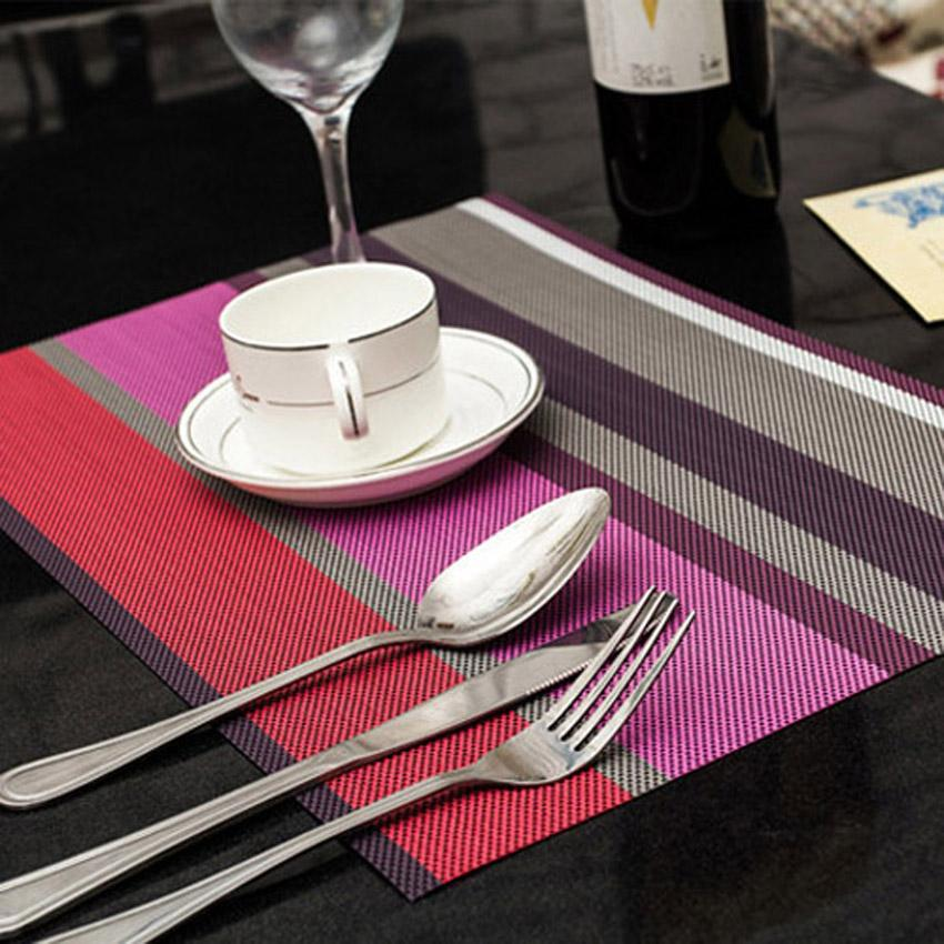 30   4 Pcs/set   Dining Table Mat Striped Disc Pads Bowl Pad Coasters De Cozinha 30*45cm Plate Bar Table Mat Acessories