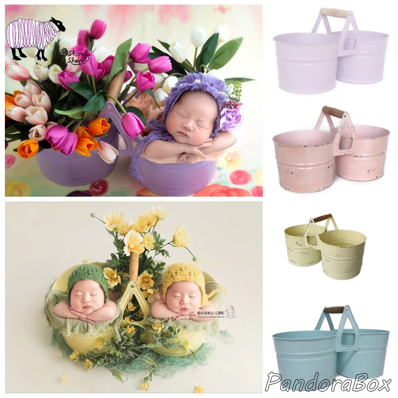 Iron Flower Bucket Newborn Photography Props Twins Baby Girl Boy Photoshoot Studio Posing Floral Basket fotografia Accessories