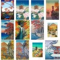 diamond painting 5d japan style landscape full square embroidery cross stitch edo period fuji scenery handicraft home decoration