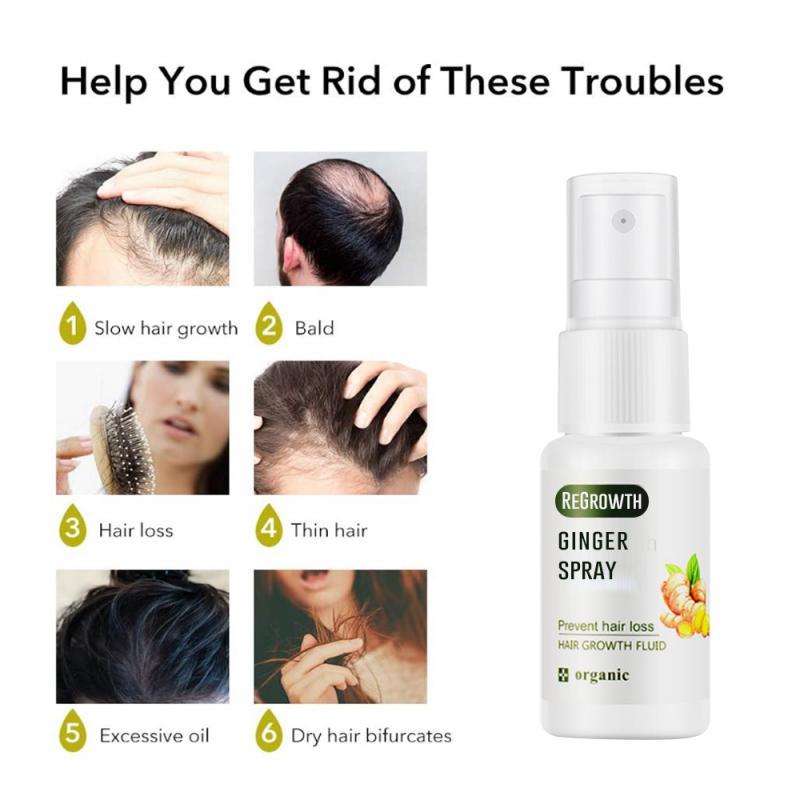Anti Loss Hair Growth Spray Ginger Nutrient Essential Oil Liquid For Men & Women Dry Hair Repair Reg