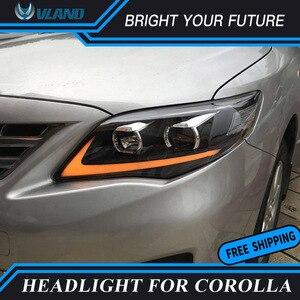 Светодиодные ленты машина головная лампа для Защитные чехлы для сидений, сшитые специально для Toyota Corolla Altis головной светильник s в сборе 2011 2012 2013 со светодиодным желтым поворотом светильник