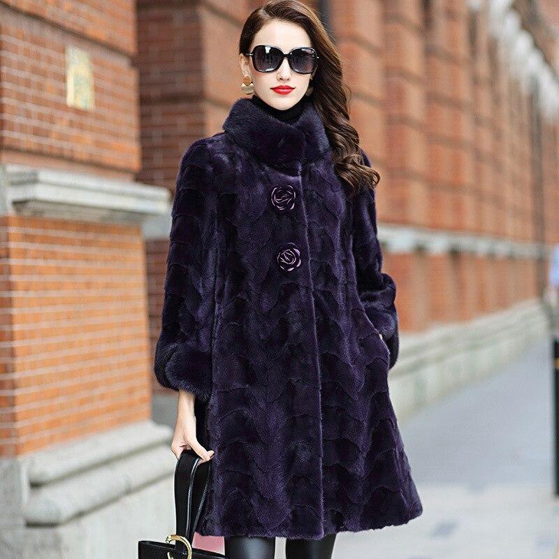 معطف النساء الملابس الإناث 100% المنك الحقيقي الفراء سترة الأزياء خمر الخريف الشتاء معاطف و جاكيتات HQ18-XYDM1811C YY364
