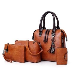 Designer Leather Shoulder Messenger Tote Bag Bolsa 4pcs/Set Women Composite Bag High Quality Ladies Handbag Sac Main Femme