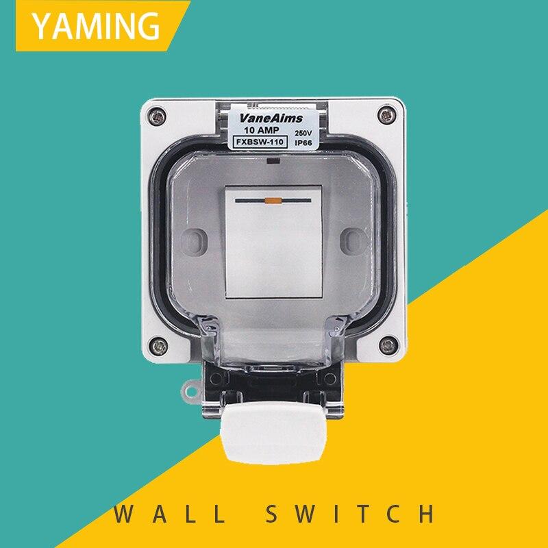 Tipo de interruptor de parede impermeável ao ar livre 86 escondido à prova chuva ip66 impermeável um gang em dois sentidos 10a 250 v
