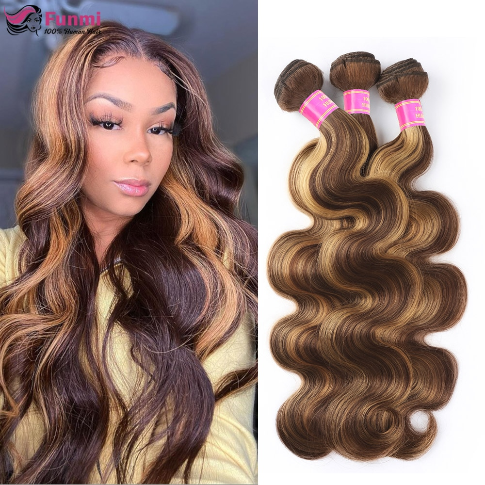 Brazilian Ombre Hair Bundles Body Wave Human Hair Bundles P4/27 Brown with Highlight Color Remy Hair