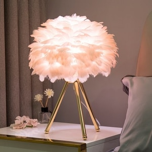 Romantic Goose Feather Led Table Lamps Bedside Lamps for Bedroom Living Room Wedding Christmas Decoration Gifts E27 Desk Lamp