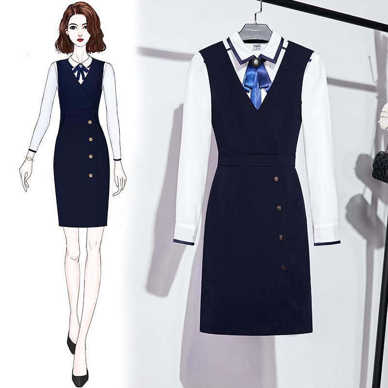 2021 OL المهنية صدرية فستان المرأة فندق مكتب الاستقبال الأمامي موحدة قميص قطعتين ملابس العمل دعوى رسمية حقيقية