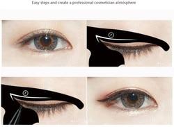 Molde maquiagem dos olhos para mulheres, 2 peças, estêncil para delineado gato, modelo fd