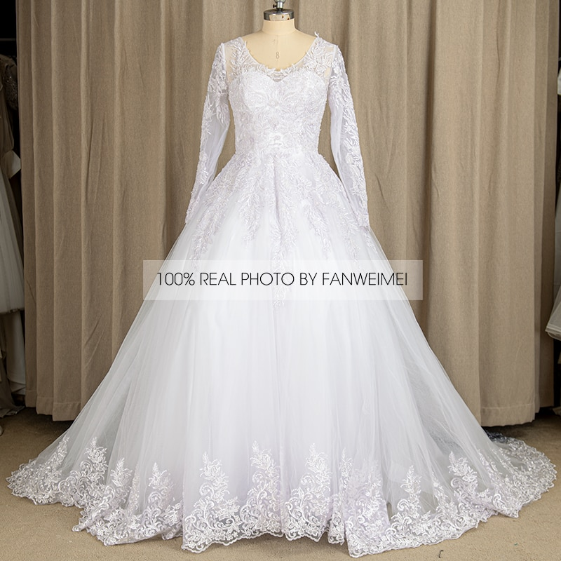 9232#100% Real Photos White Illusion V-Neck Lace Long Sleeve Applique Sequined Princess Ball Gown Wedding Quinceanera Dresses