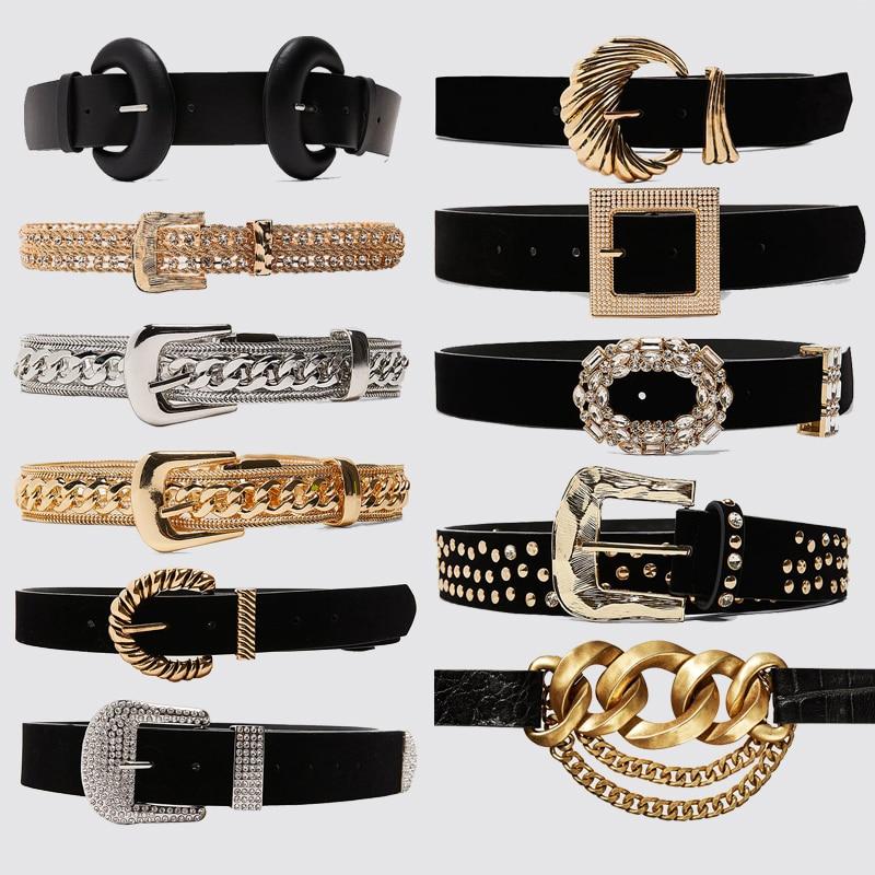 Dvacaman 2020 New ZA Charm Shiny Gold Rhinestone Belts for Women Fashion Black Buckle Decorative Belt Waist Body Jewelry Dress