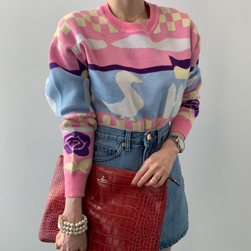 Pink Kawaii Paint Sweet Girls Woman Sweaters Long Sleeve Winter Tops Pullovers 2020 New Korean Fashion Trend O-Neck Loose Casual