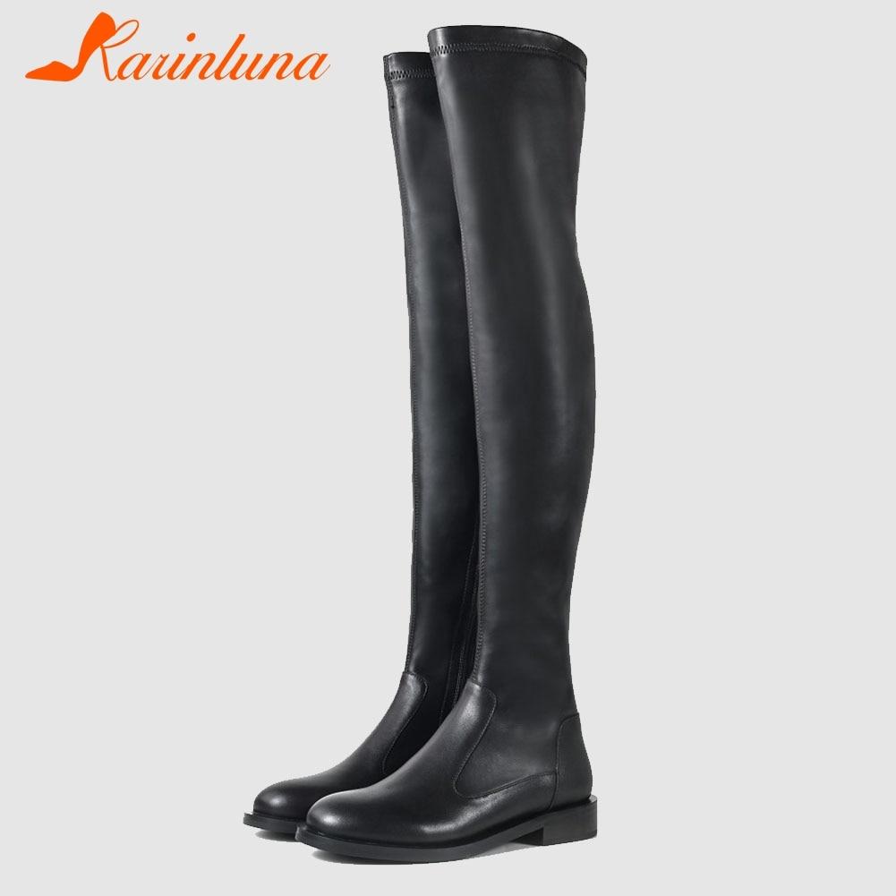 Karinluna 2020 جلد البقر بولي ity عالية الجودة للخريف والشتاء غير رسمي كعوب منخفضة أحذية النساء الموضة فوق الركبة أحذية امرأة