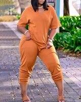 donsignet fashion womens jumpsuit new summer casual v neck pullover solid color loose pocket long sleeved jumpsuit