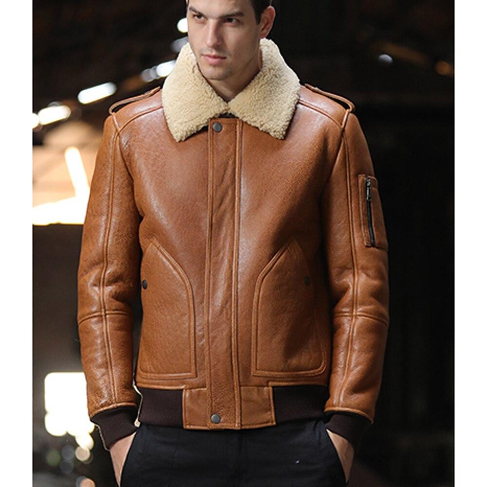 SANI-معطف قصير من جلد الغنم الأصلي للرجال ، وسترة من الفرو الأصلي ، وملابس شتوية ، وبني