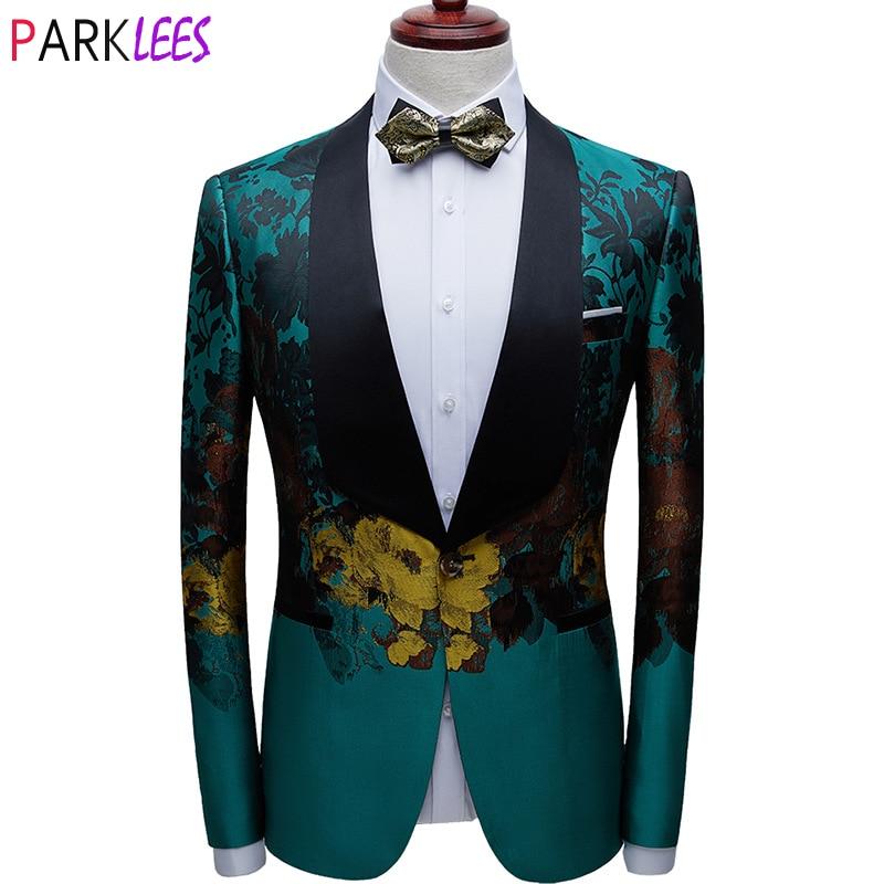 الرجال الفاخرة الأزهار طباعة الأخضر فستان بليزرات زر واحد شال التلبيب الرجال بذلة سهرة سترة العشاء الزفاف زي حفلات أوم