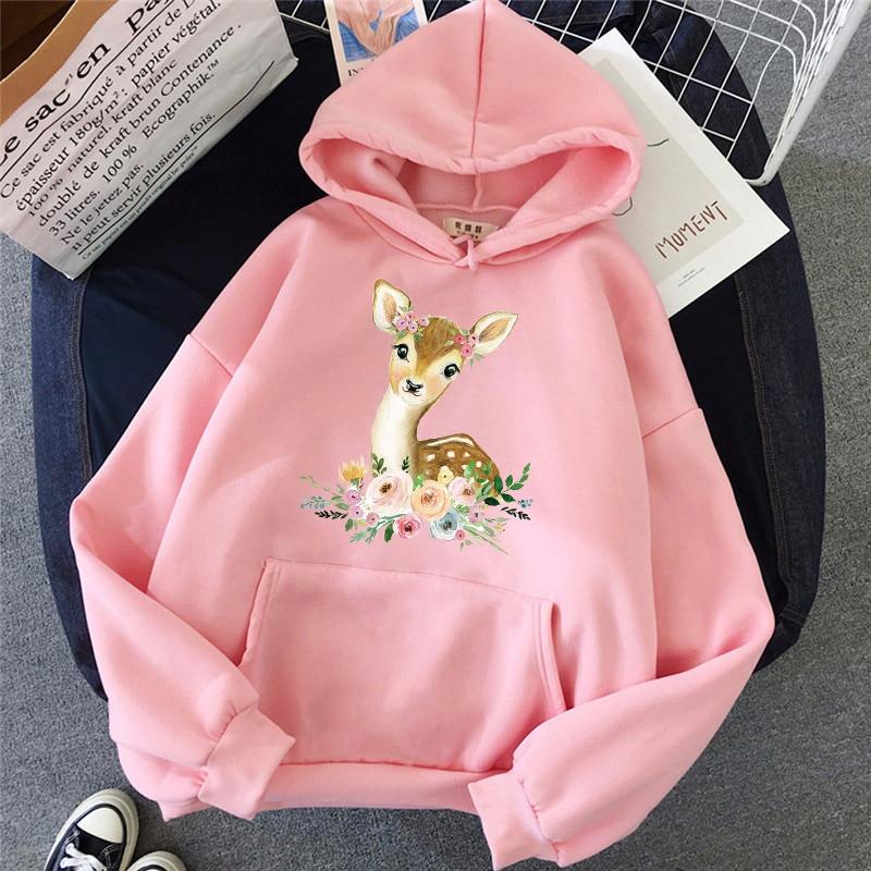 Зимняя женская толстовка с капюшоном с мультяшным принтом оленя с длинными рукавами осенний свитер Harajuku Модный женский пуловер с карманами...