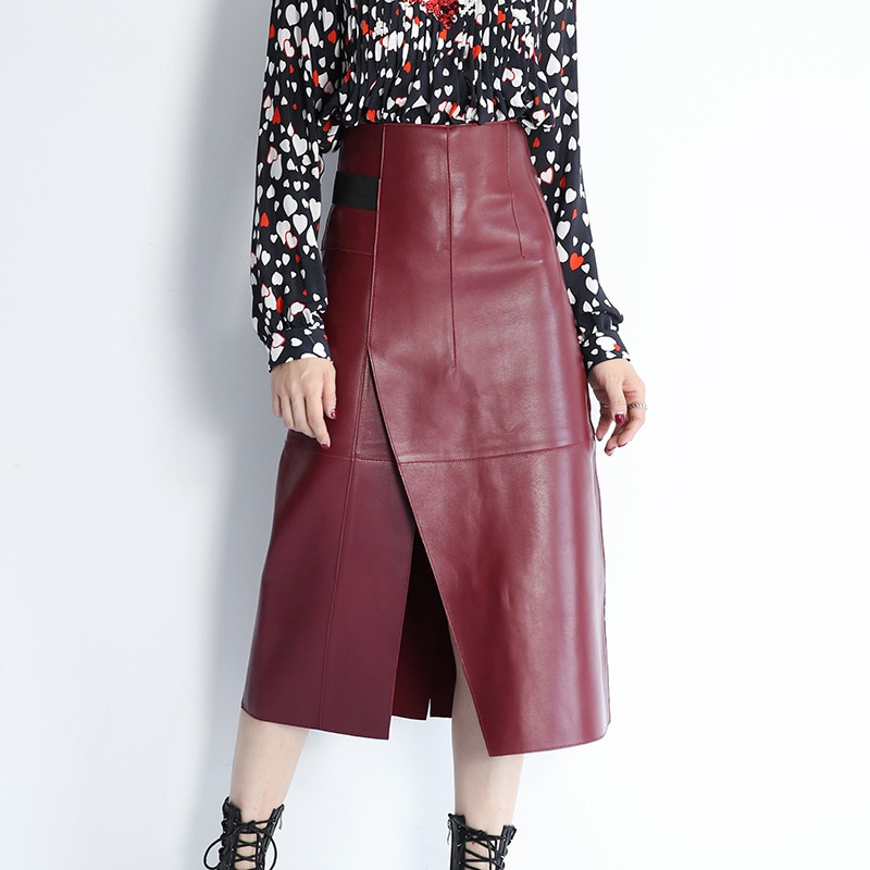 Black Purple Red Genuine Leather Long Skirts Womens High Waist Maxi Vent Bodycon Vintage Skirt Sexy Ladies Asymmetrical Skirts