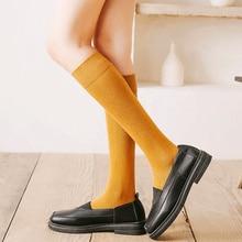 Dreamlikelin ฤดูใบไม้ร่วงฤดูหนาวผู้หญิงถุงเท้ายาวสีทึบญี่ปุ่น High School ถุงเท้าเข่า