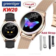 Greentiger KW20 akıllı saat kadın nabız monitörü IP68 su geçirmez spor izci kadın spor Smartwatch VS H2 H8 KW10