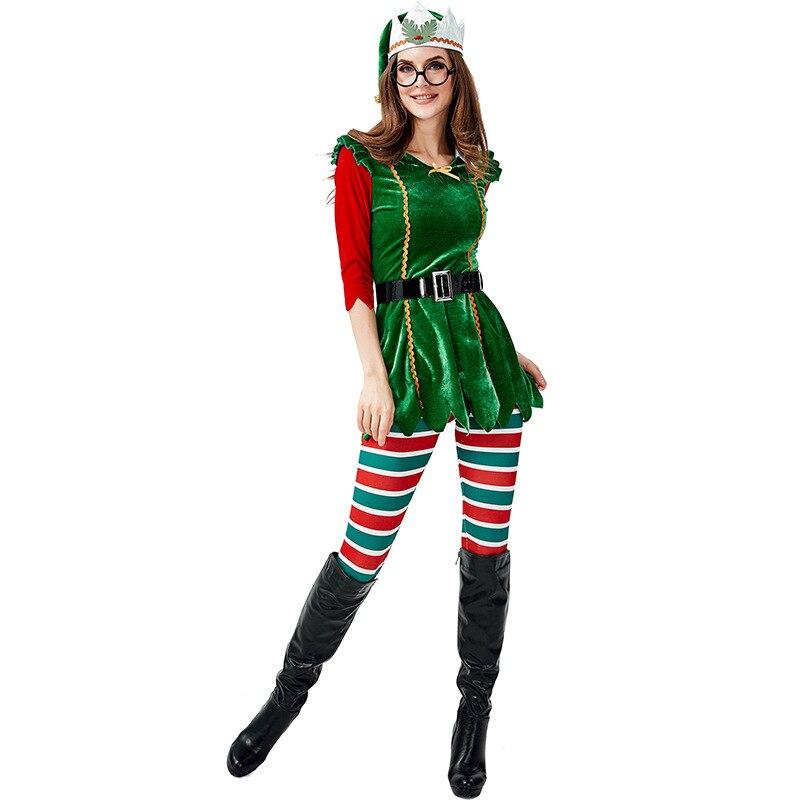 Nuevo disfraz de elfo de Navidad árbol navideño verde duendecillo elf cosplay disfraz adulto europeo y americano