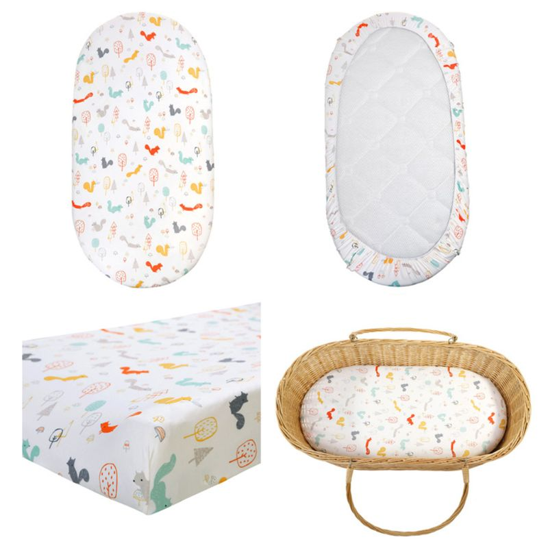 Baby Diaper Changing Pad Cartoon Printed Cradle Cover Newborn Mattress Crib Sheet Bedding