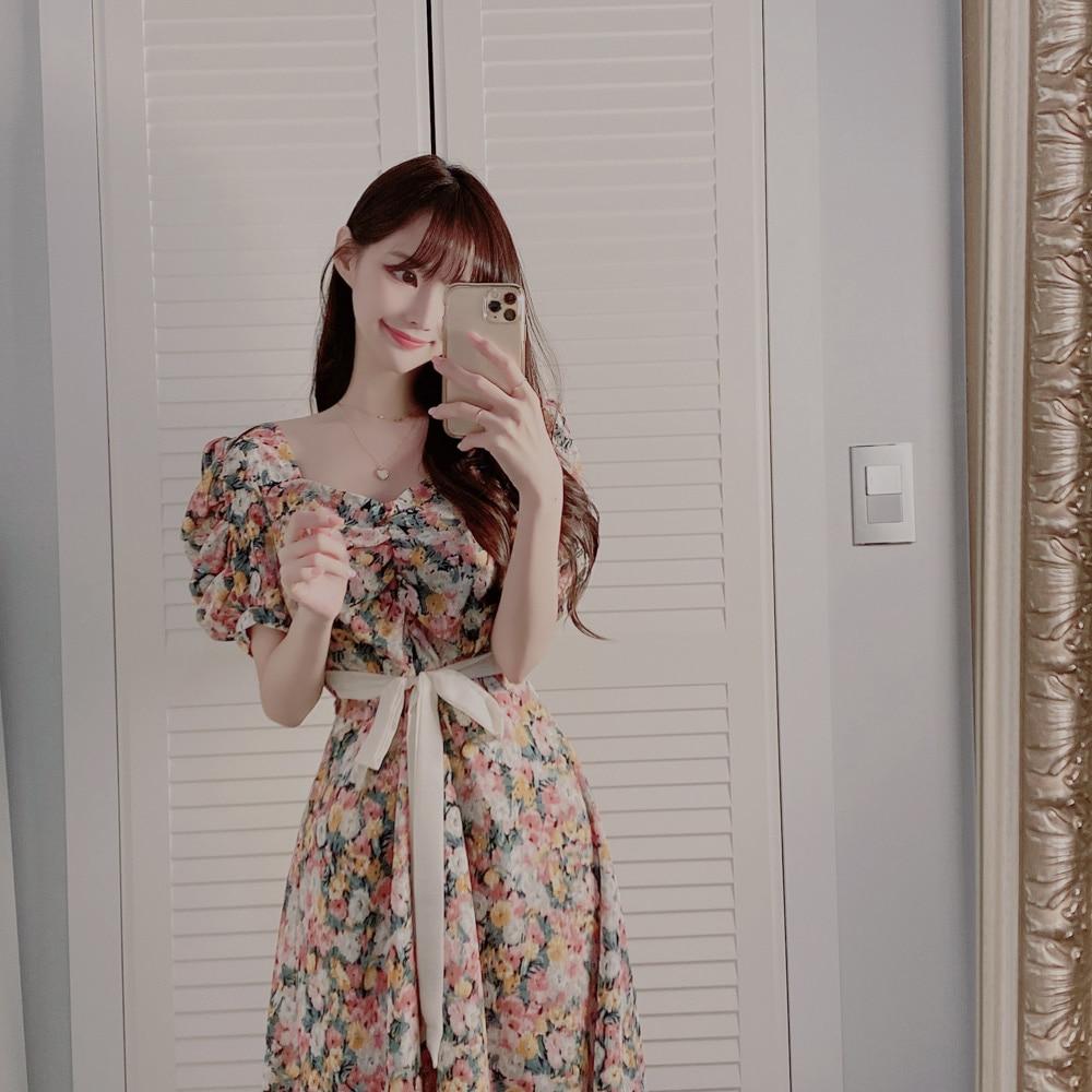 Plus Size New Summer Dress Girls Party Female Vintage Dress print short Sleeve Women Dresses oversize Robe Vestido