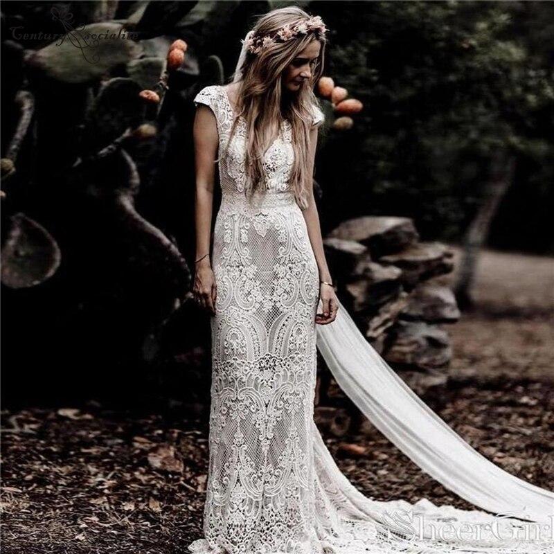 بوهو فساتين الزفاف غمد فستان الزفاف الدانتيل الخامس الرقبة عارية الذراعين قبعة الأكمام البوهيمي العروس فساتين حجم كبير Vestidos دي نوفيا