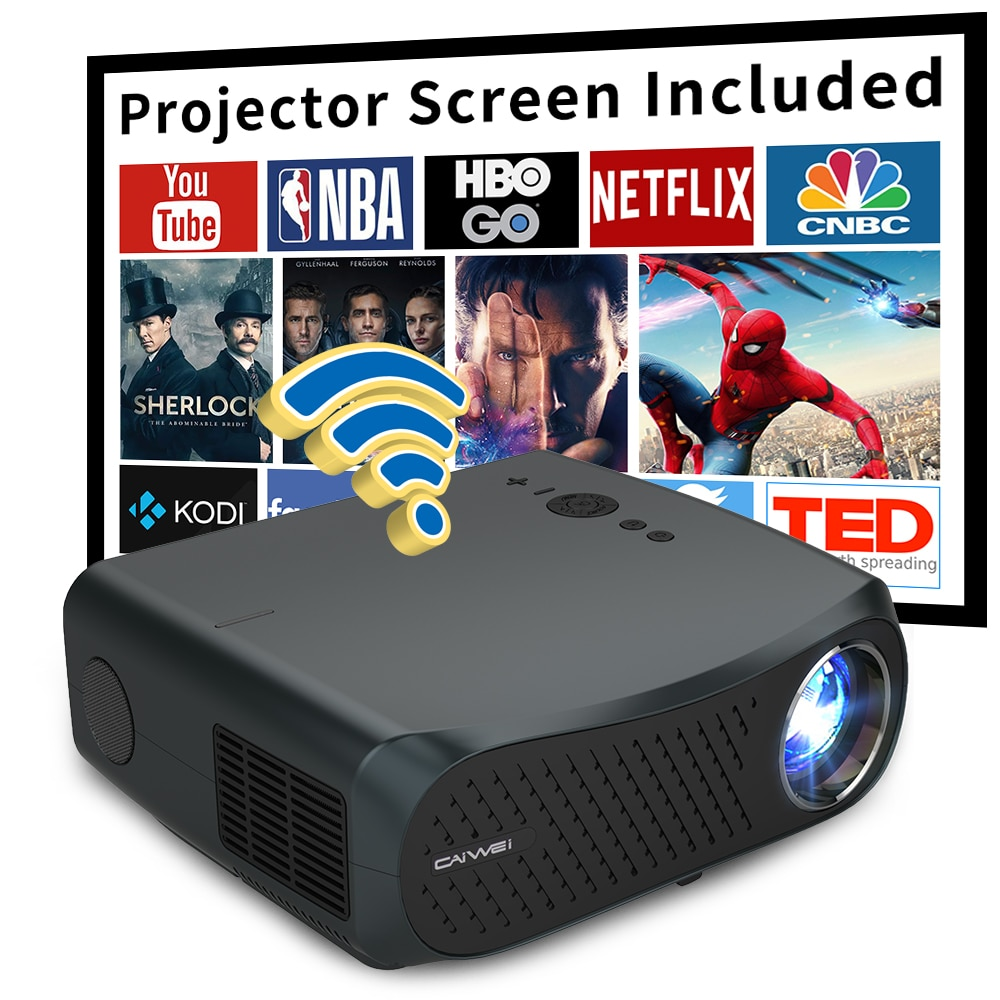CAIWEI A12 1080P Full HD Projector WIFI Multiscreen Projetor 1920 x 1080P SmartPhone Beamer 3D Home