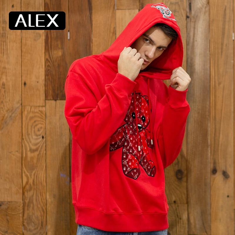 Alex Plein-قميص من النوع الثقيل للرجال ، ملابس الشارع الشهير ، دمية دب ، منشفة مطرزة ، مقاس كبير ، قطن 100% ، قطعة واحدة