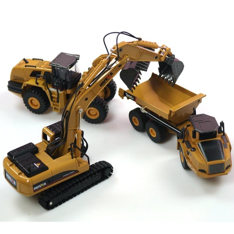 HUINA 1:50-شاحنة قلابة للأطفال ، حفارة ذات عجلات ، نموذج معدني ، مركبة بناء ، ألعاب للأولاد ، مجموعة سيارات هدية ، 3 قطعة/المجموعة مجموعة