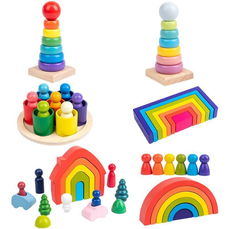 Детские игрушки радужные строительные блоки деревянные игрушки для детей креативный Радужный штабелер Монтессори обучающая игрушка Детск...