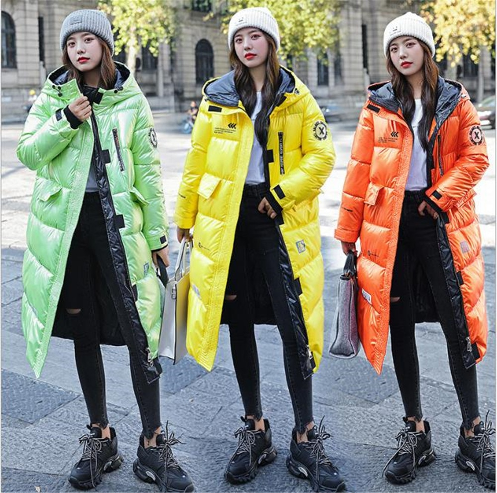 Long Coat Women Glossy Solid Hooded Winter Jacket Korean Style Thicken Female Outerwear