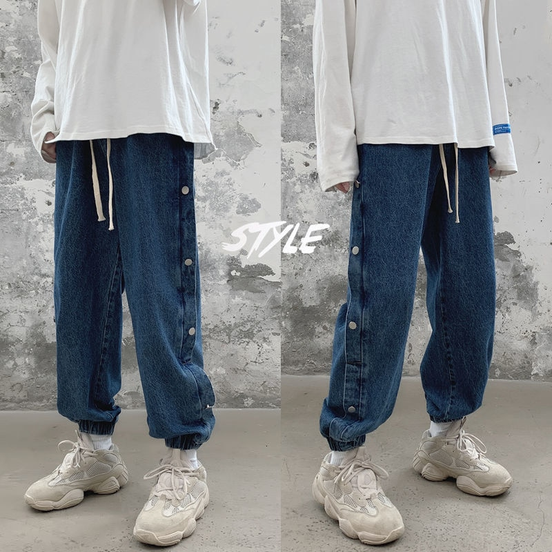 Hybskr Men's Casual Oversize Pencil Jeans 2020 Autumn Winter New Woman Denim Pants Korean Streetwear Man Hip Hop Trousers