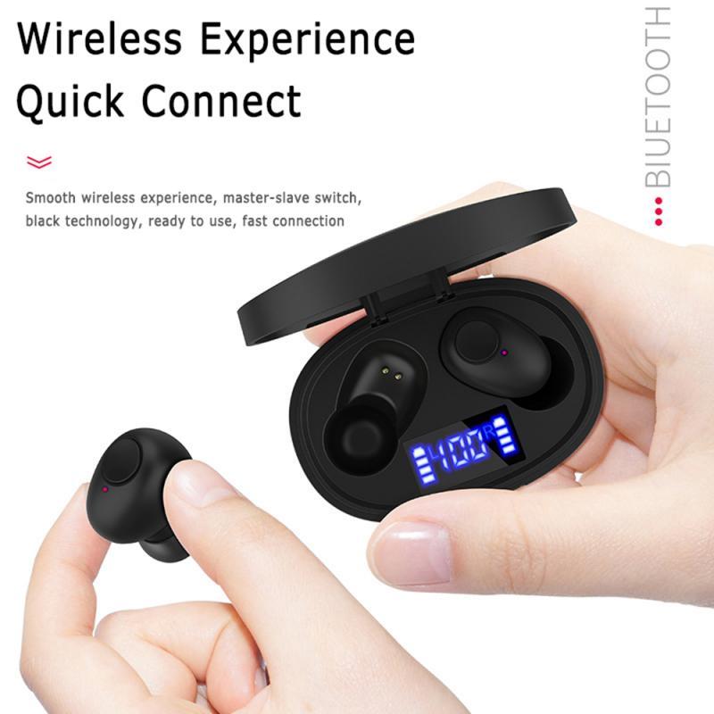 Auriculares Bluetooth T12 con pantalla de alimentación inalámbrica LED 5,0 estéreo nivel IPX5 resistente al agua con caja de carga de auriculares