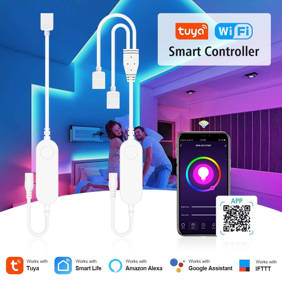 Tuya Smart Life LED Strip Light Contoller Wifi Remote Control USB 5V DC12V-24V RGB Led Controller Wo