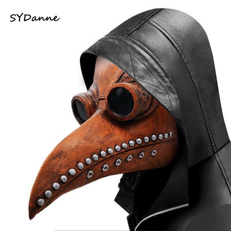 Funny Masks Medieval Steampunk Plague Doctor Bird Mask Latex Punk Cosplay Masks Beak Adult Halloween Event adult Cosplay Props
