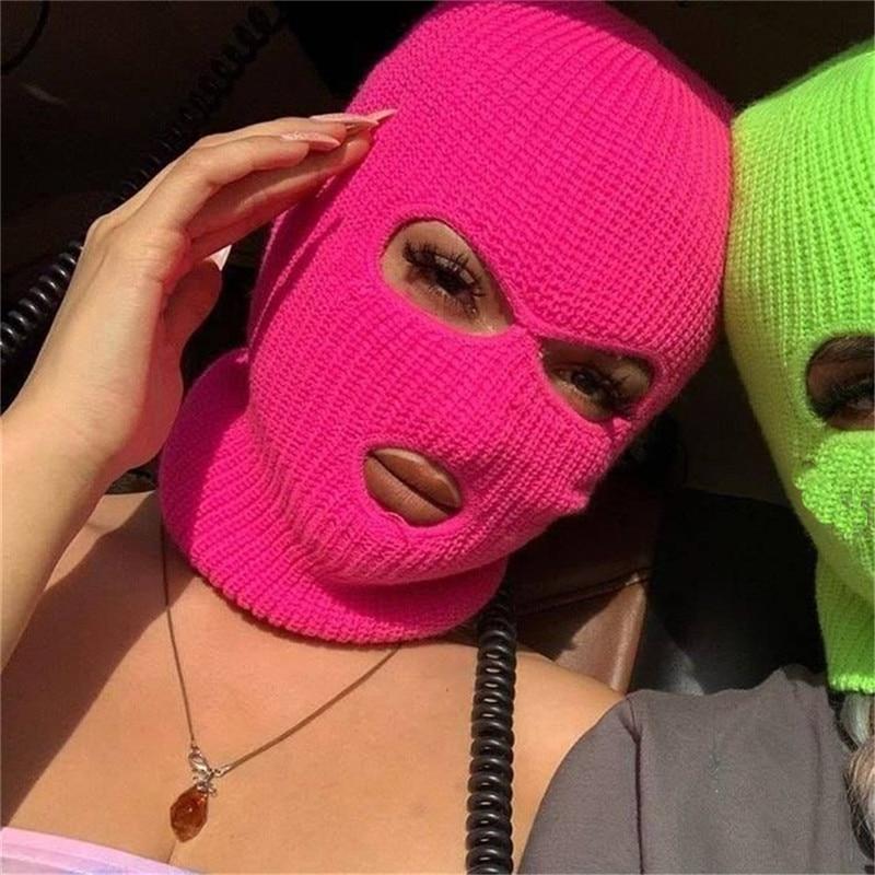 Full Face Cover Ski Mask Hat 3 Holes Balaclava Army Tactical CS Windproof Knit Beanies Bonnet Winter
