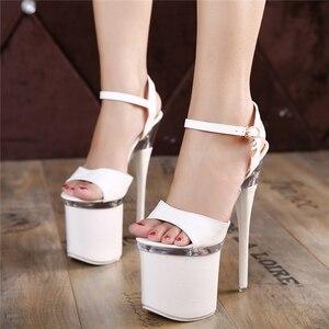 2021 Women Plus Size 17cm Thin High Heels Striptease Sandals black Sexy 7cm Platform Red Pumps Fetish Party Wedding prom Shoes