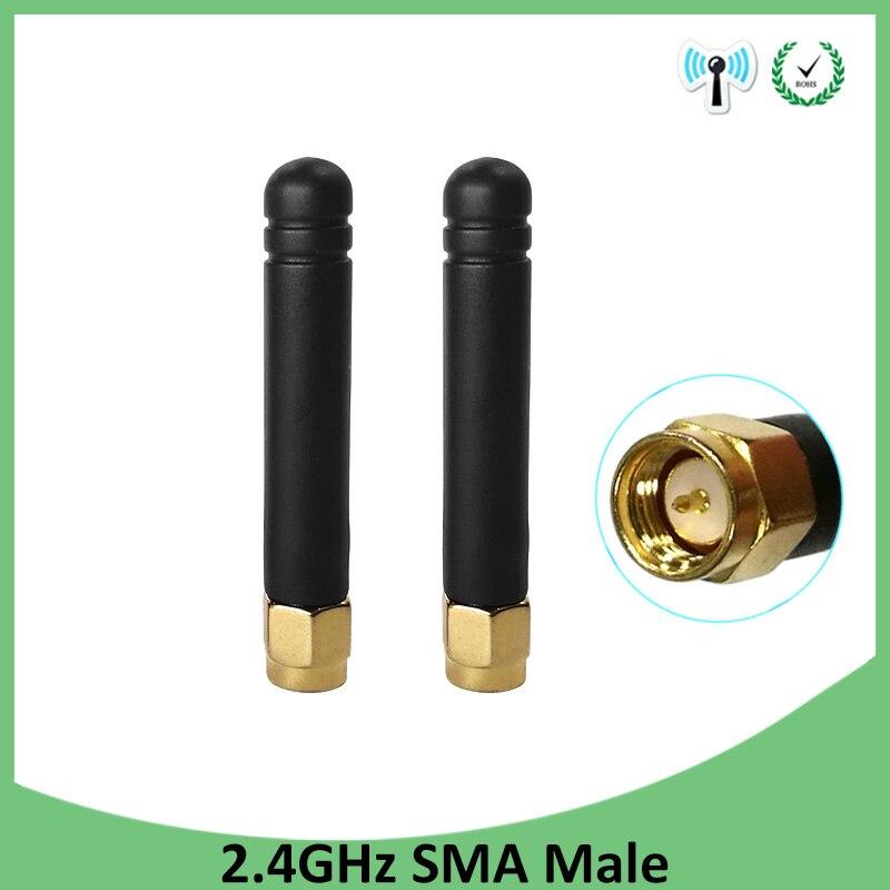 2 uds 2,4 GHz antena wifi SMA conector macho 2dbi wifi 2,4 ghz antena tamaño pequeño antena Zigbee wi fi antenas wifi