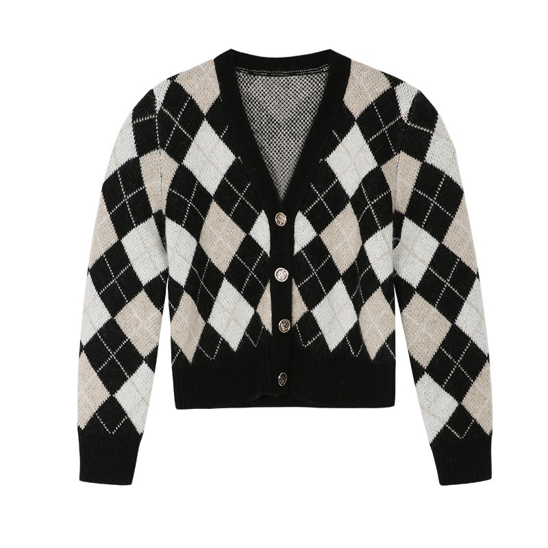 Autumn Winter Plaid Knitted Cardigan Women Loose V-Neck Sweater Coat Female Jumpers Cardigan Jacket Short enlarge
