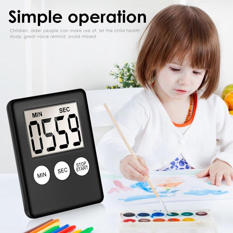 8 цветов супер тонкий цифровой ЖК-экран кухонный таймер квадратный кухонный будильник прямого и обратного счета секундомер для сна часы Прямая поставка