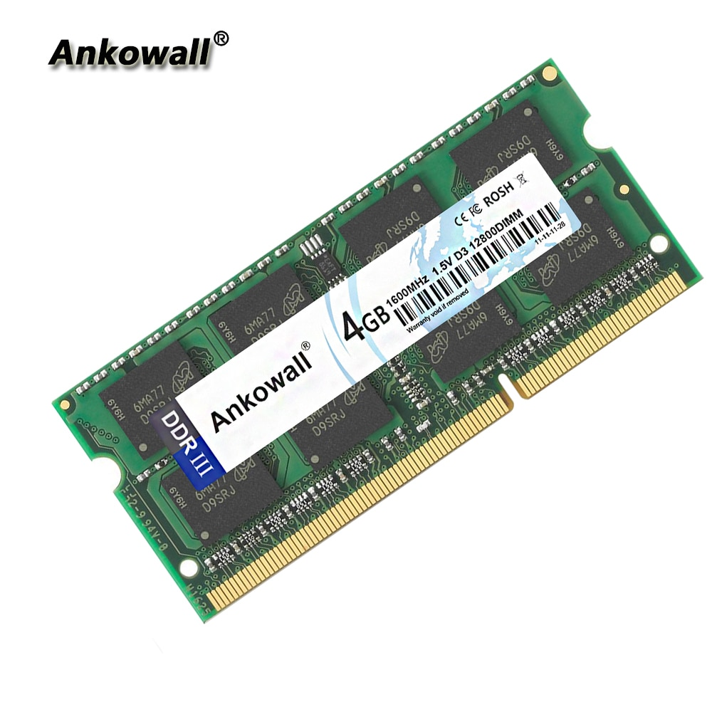 Ankowall DDR3 SO-DIMM 2G 4GB 8GB RAM 1333/1600 MHz 1,5 V 204Pin Notebook Speicher PC3-10600/12800 laptop RAM