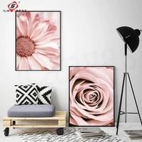 Affiche de salon a fleurs roses et Blush imprimes  toile de peinture murale  images dart pour chambre de fille moderne  decoration de maison