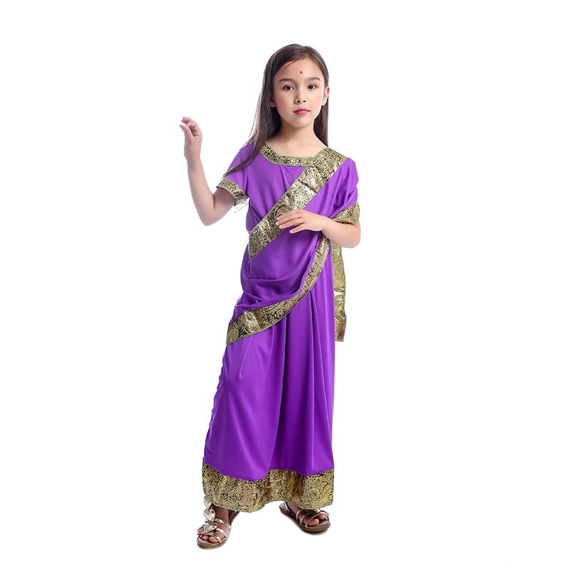Encantador Meninas Indianas Saree Bollywood Traje Da Princesa Vestido de Festa de Desempenho Roupas Traje de Halloween Para Crianças Carnaval