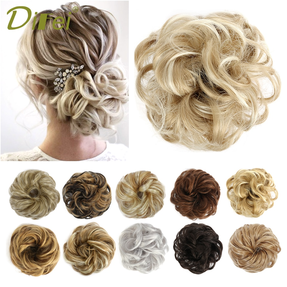 AliExpress - DIFEI Messy Curly Chignon Scrunchie Donut Hair Bun Pad Elastic Hair Rope Rubber Band Synthetic Hairpiece Extensions Brown Golden