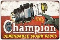 vintage design champion spark plug tin metal poster wall decoration original design thick tinplate signs for man cavegarage